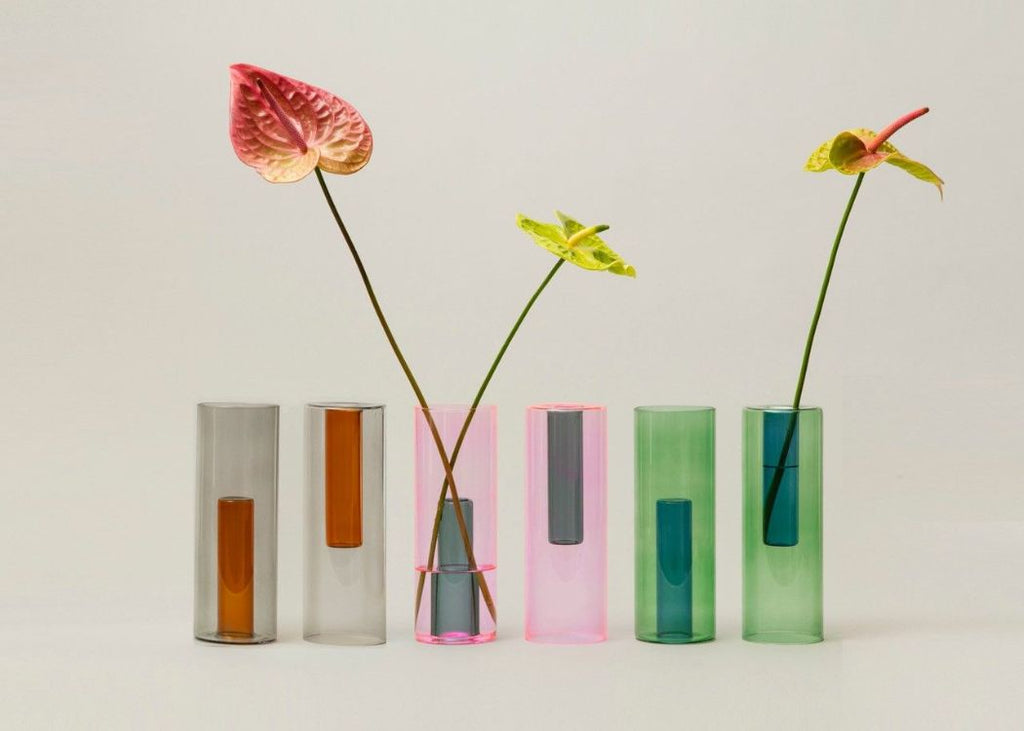 Collection of Coloured Glass Vases Reversible vases from Block Design