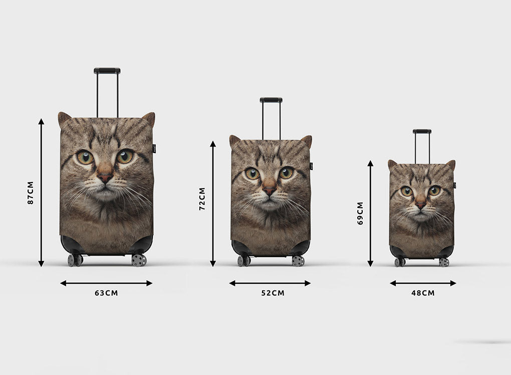 Pikkii cat suitcase cover in 3 sizes, with measurements