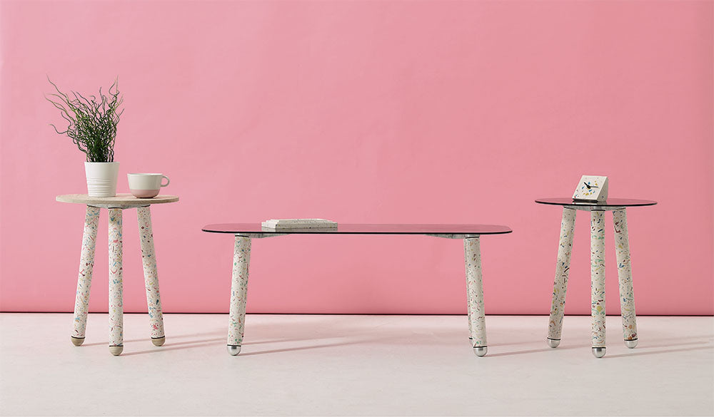 Terrazzo Table Legs against a pink wall