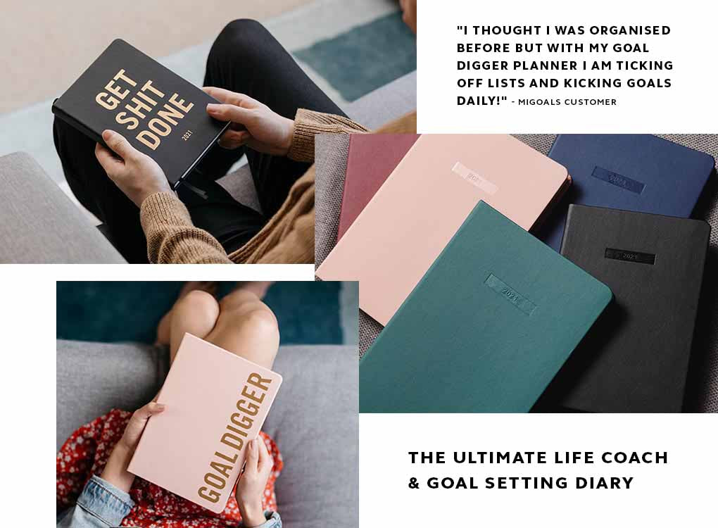 2021 B6 Pocket Sized Black Goals Diary by MiGoals. Track plan and achieve your goals in 2021.