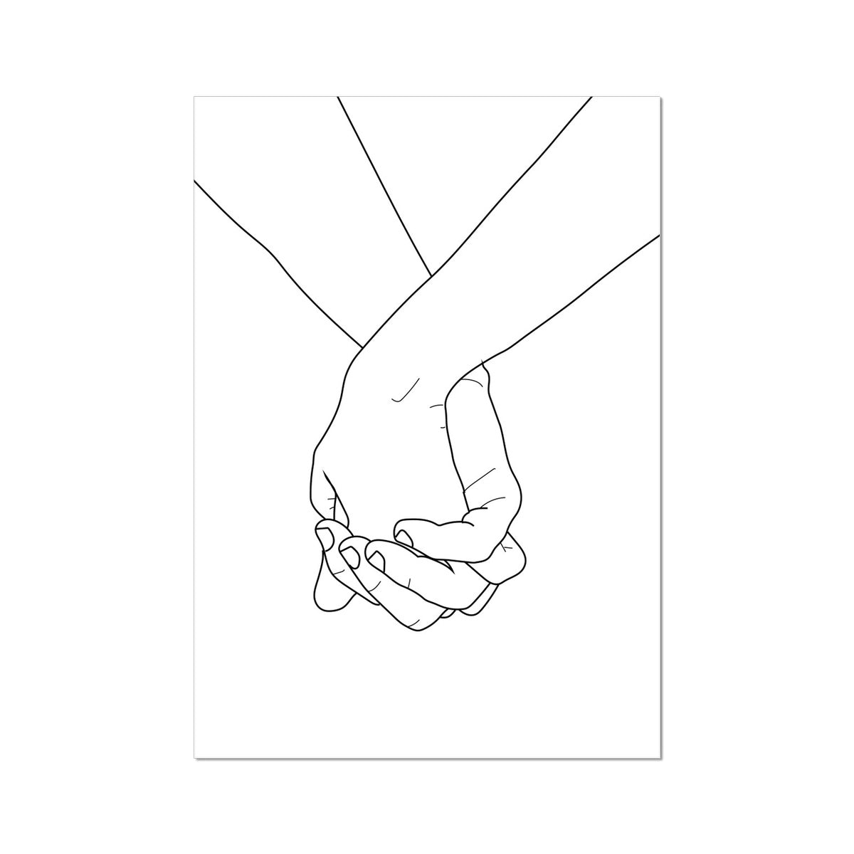 Holding Hands Art Print On A White Background