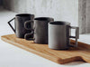 Kitchen set of mugs - 3 Grey sculptural mugs with different shaped handles