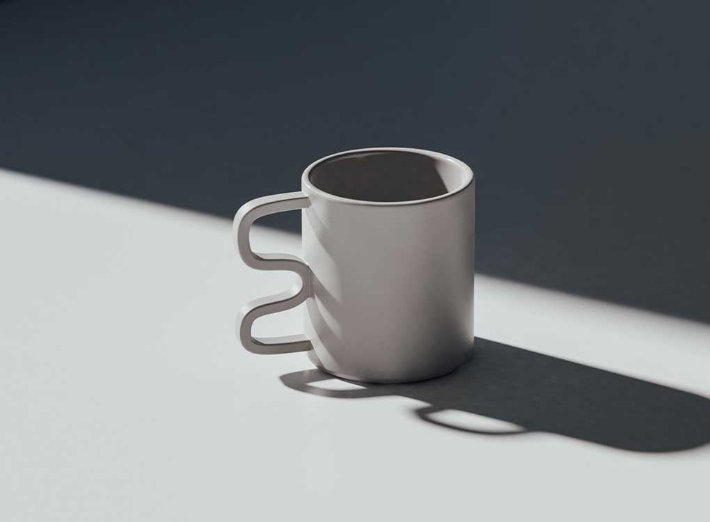 Annika squiggle handle architect inspired grey mug by Aandersson