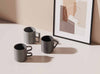 Collection of 3 Shapes mugs by Aandersson sculptural grey mugs