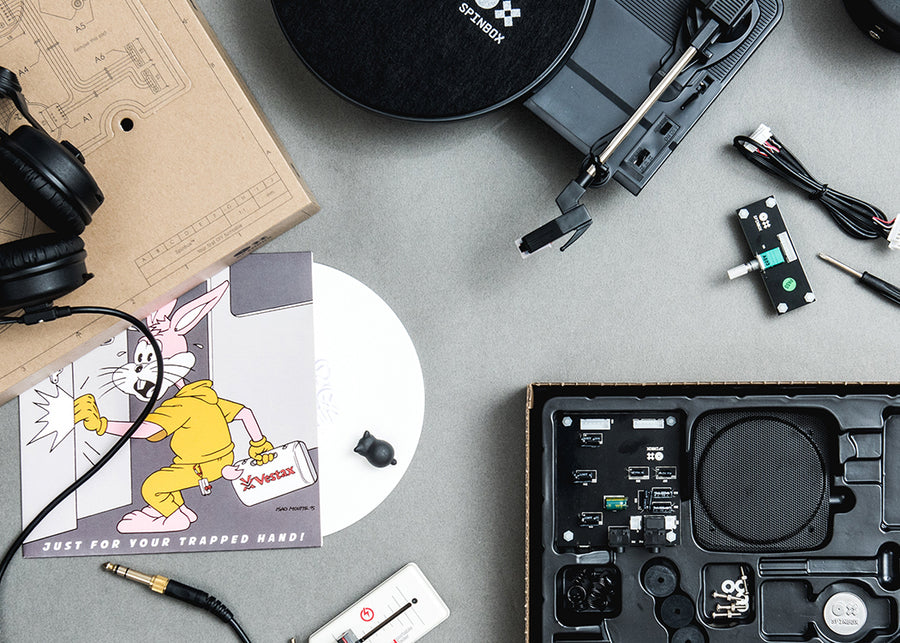 Black Spinbox product shot of DIY turntable