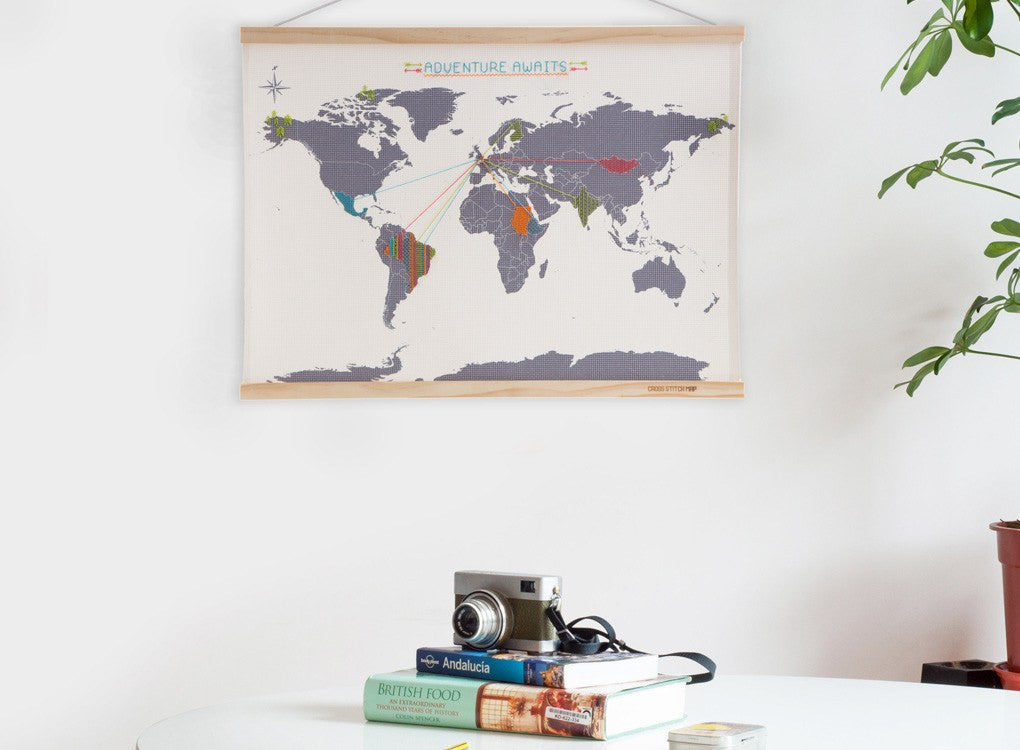 World Map framed with cross stitch