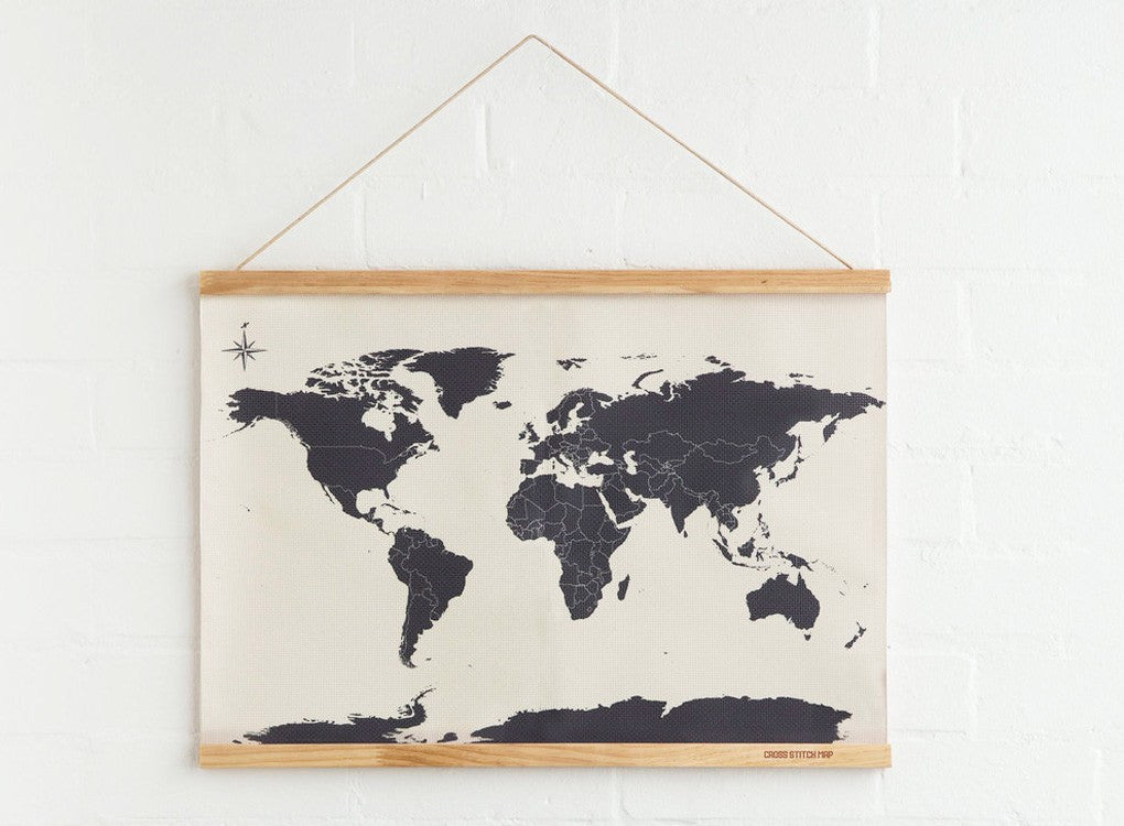 Canvas Cross Stitch Map with a solid wooden frame