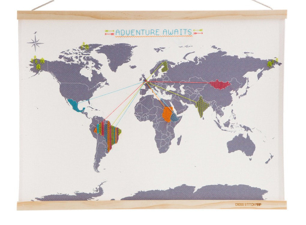 Map with personalised Cross Stitches on Canvas
