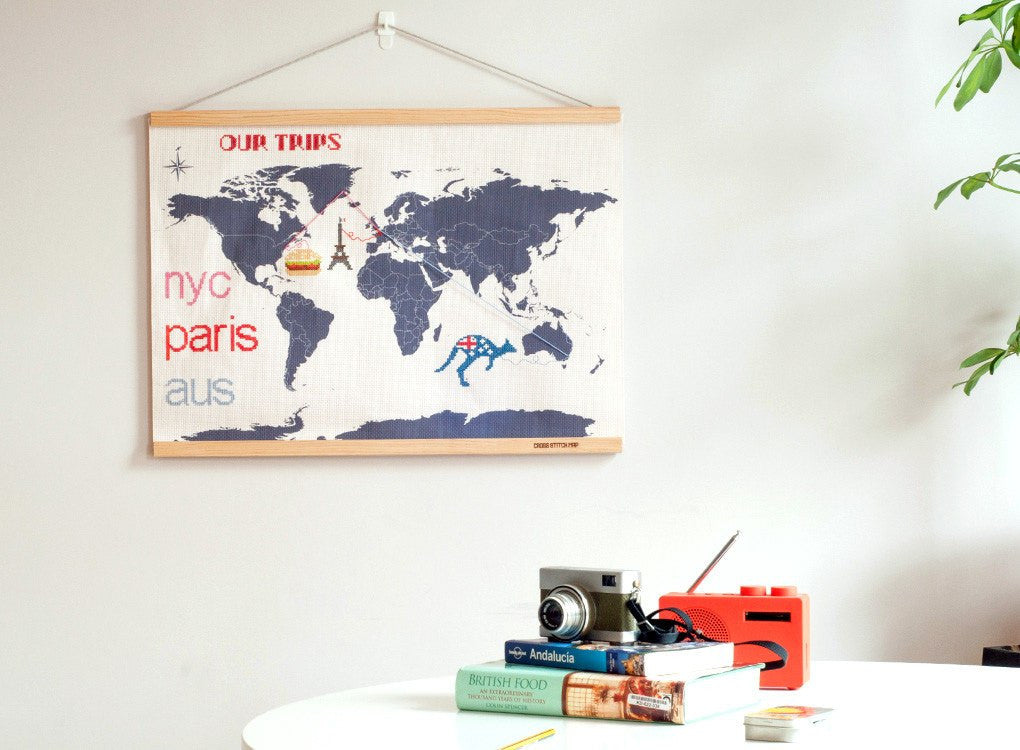 Hang your cross stitch world map on your office wall