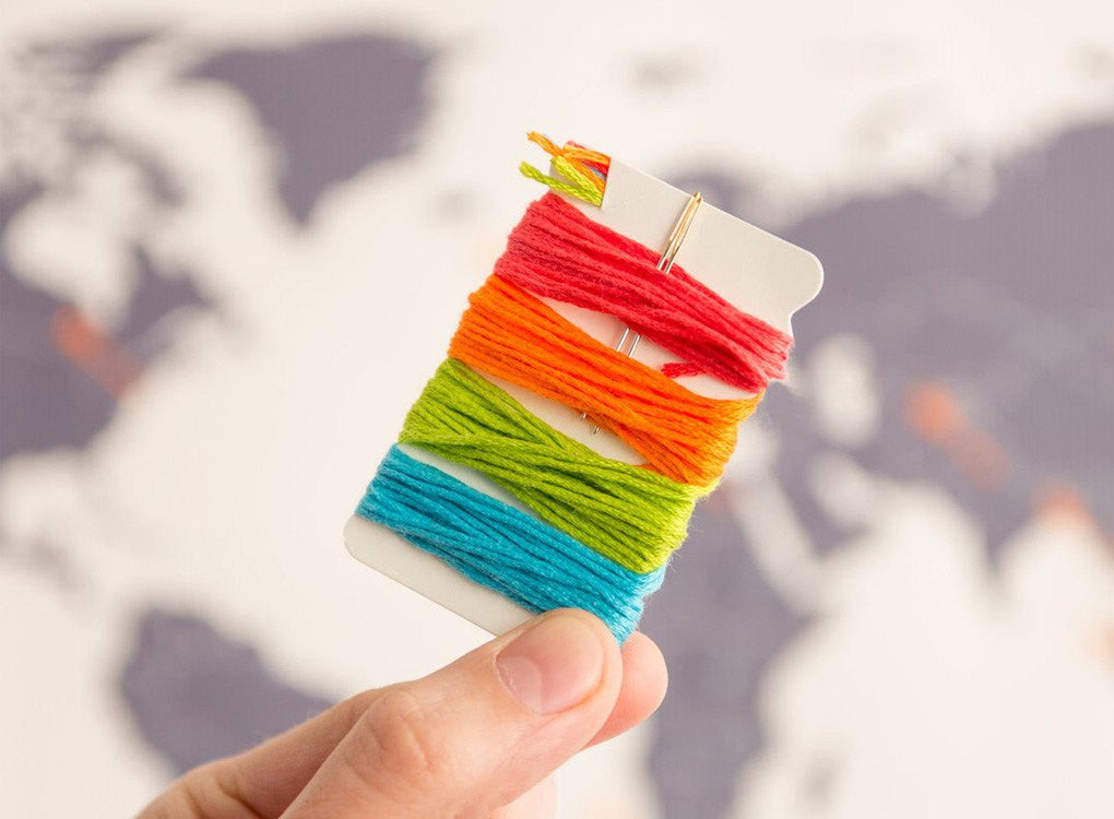 Colourful thread to use on your cross stitch world map
