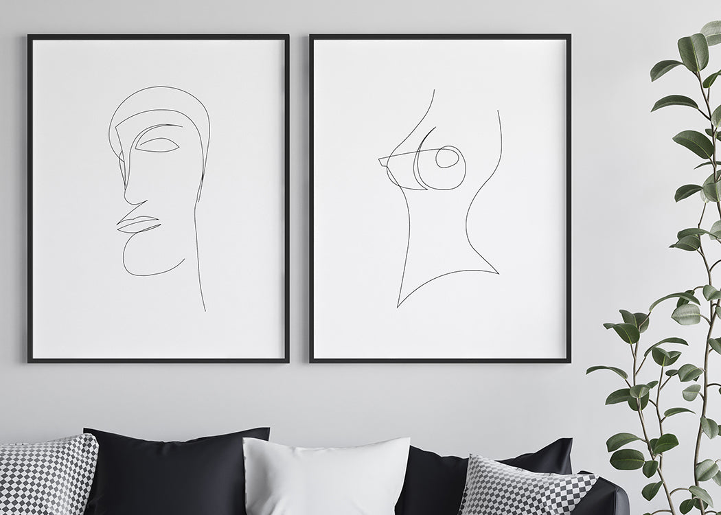 Single Line Nude Art Print On A White Background
