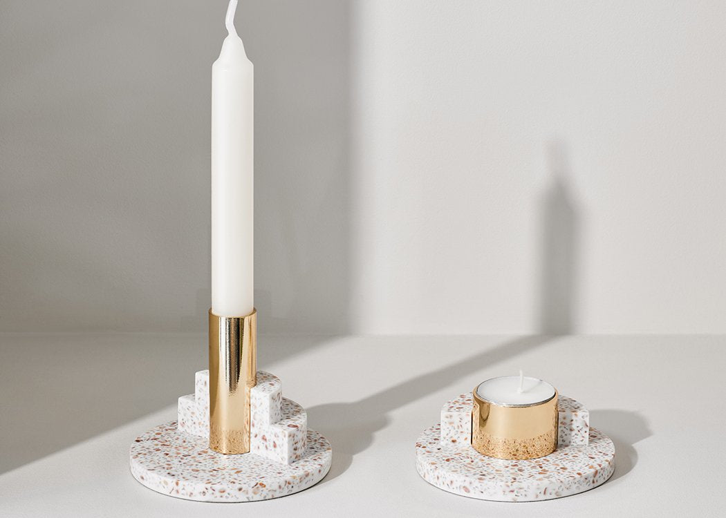 Ply terrazzo candle holder and terrazzo tealight holder by Puik. Dutch Candle holder design.