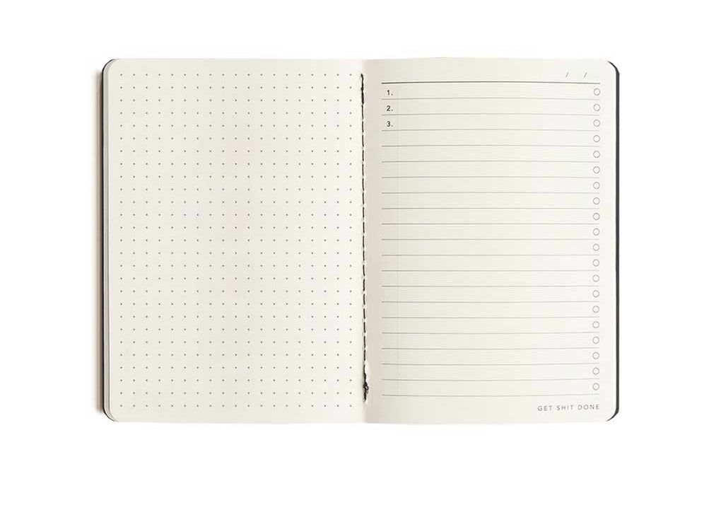 A5 Black Get Shit Done Notebook in Dot Grid