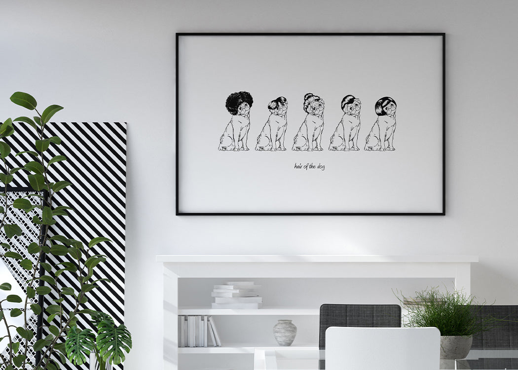 Hair of the Dog Art Print On A White Background