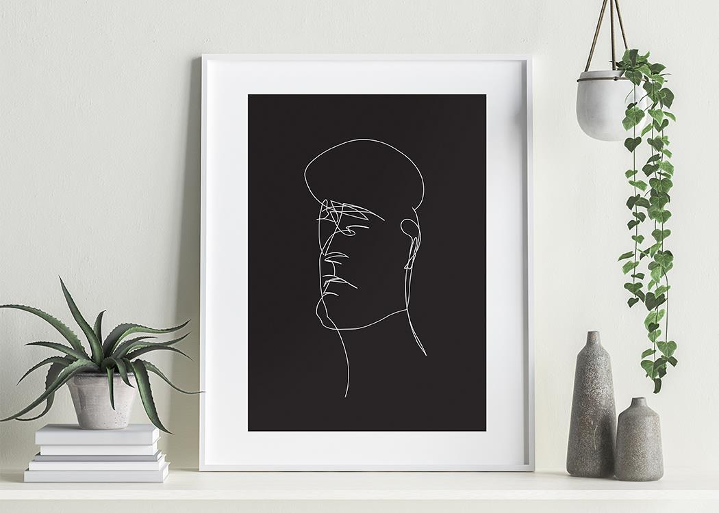 The Head (Black) Art Print On A White Background