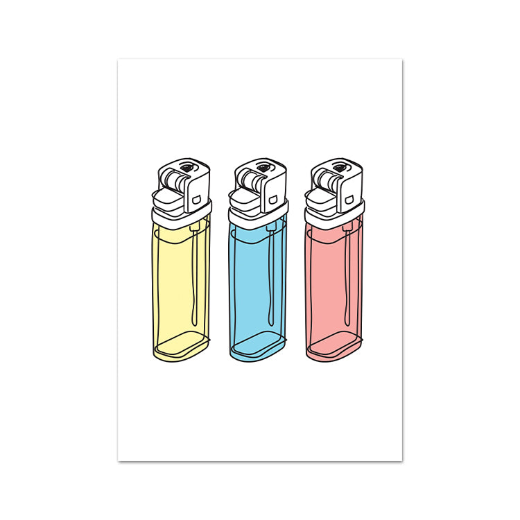 Modern Lighters Art Print On A White Background