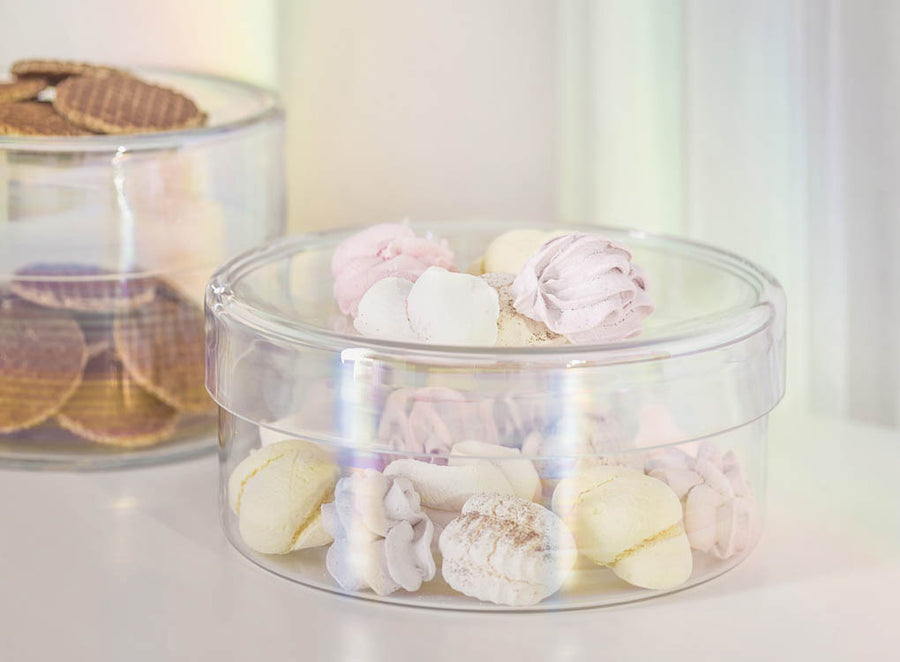 Circum Iridescent Glass Storage Containers for cakes, cookies and sweets by Puik