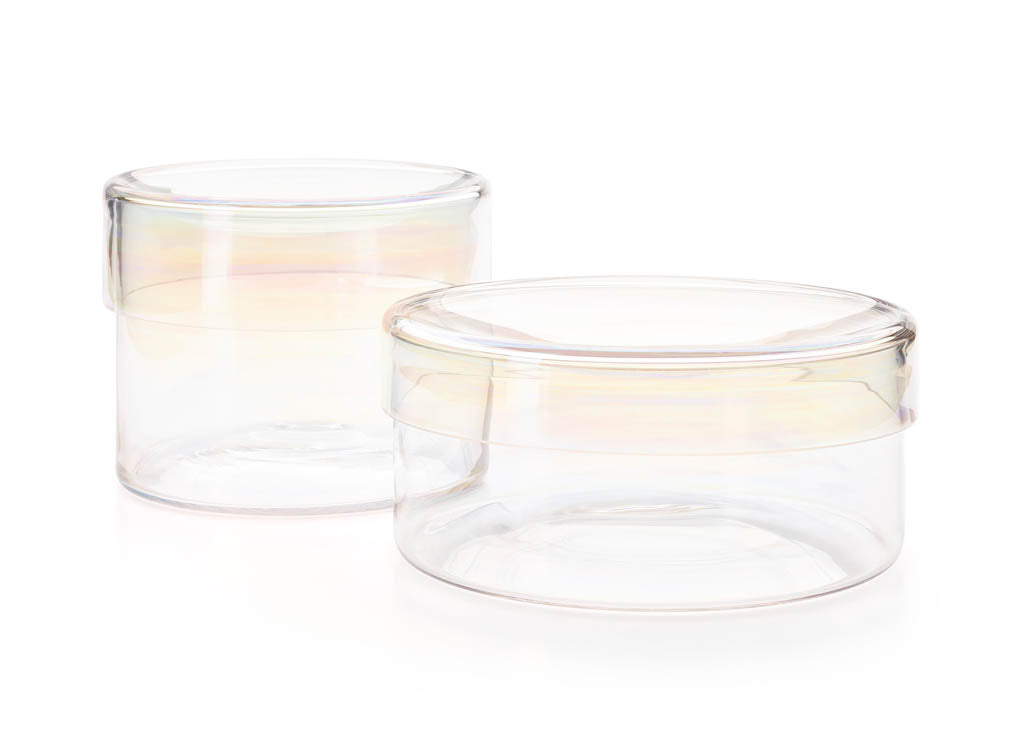 2 sizes Circum Iridescent Glass Storage Containers for cakes, cookies and sweets by Puik