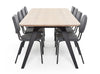 FOLD table oak with black steel frame surrounded by Option chairs by Puik Design