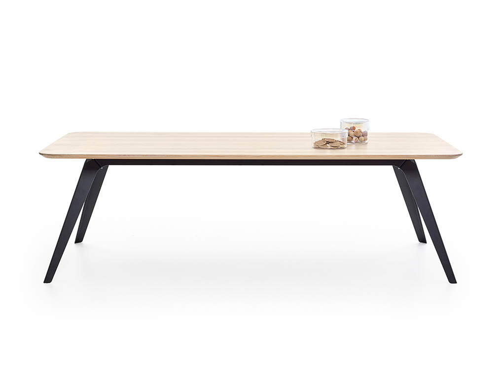 Puik Fold Solid oak dining table with black steel frame