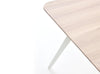 curved edge FOLD solid oak top table with white folded steel frame