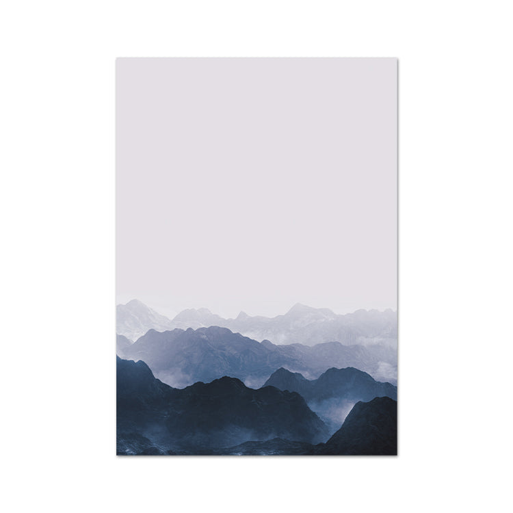 Misty Mountains Art Print On A White Background