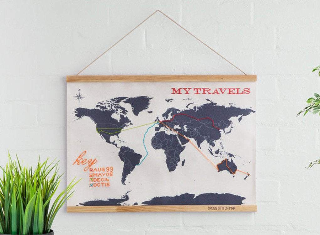 Cross Stitch World Map is a great gift idea for people who love to travel