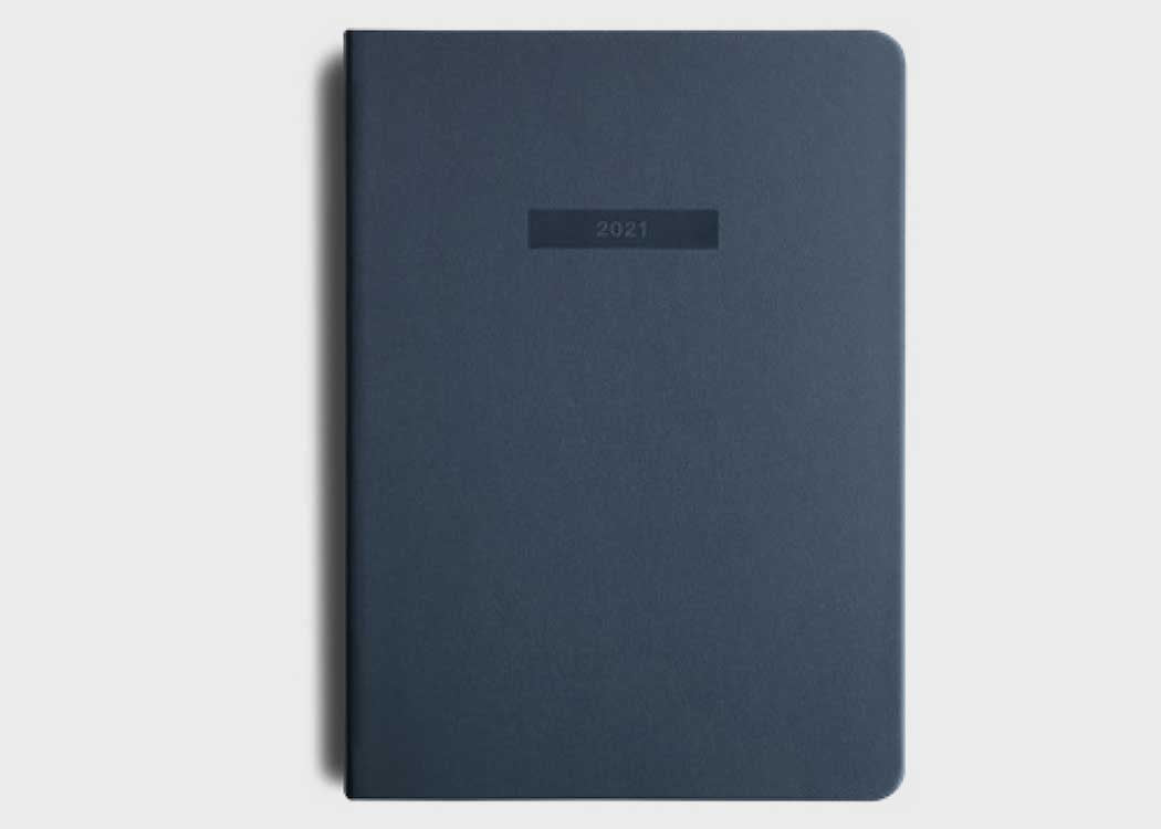Navy Men's 2021 Diary from Migoals. Motivational and inspiring Goal Stationery from MiGoals.