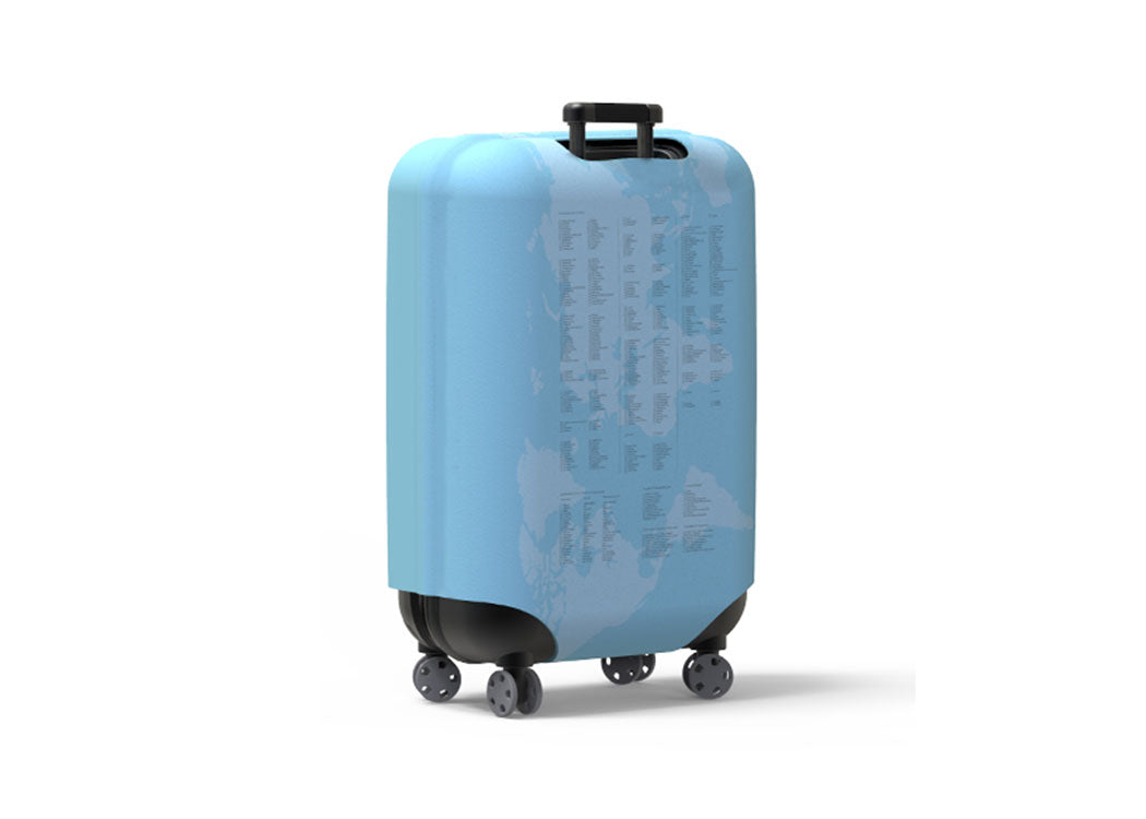 This fun luggage covers slip over your suitcase to transform it into a travel bucket list. Instantly makes your luggage easy to spot at baggage reclaim. Protects your case from damage. Prevents theft from your case. Easy to clean. Includes holes for your suitcase handles. Includes pen.