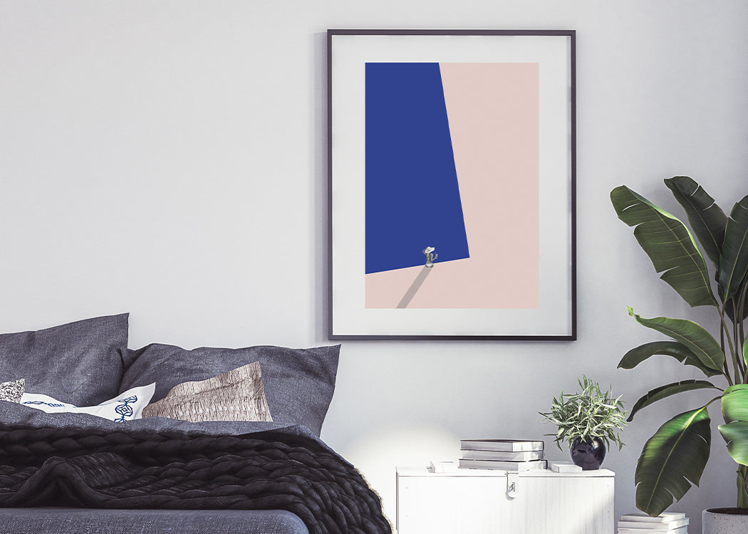 Pool Side Art Print On A White Background