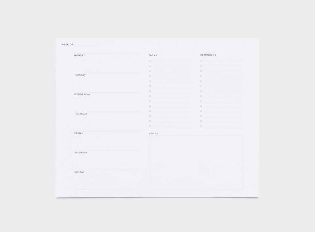 AN EVERYDAY STAPLE FOR YOUR DESKTOP TO KEEP TRACK OF YOUR WEEKLY SCHEDULE AND TASKS. We ship worldwide. Free UK shipping 0ver £30.