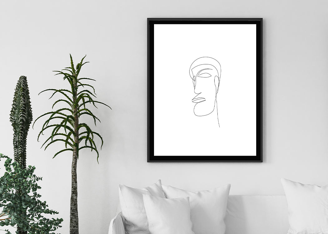 Abstract Face Modern Art Print on white background