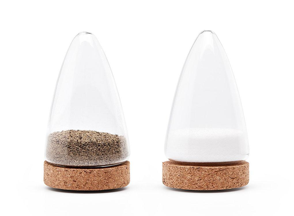 unique Boeien solid cork glass salt & pepper shakers