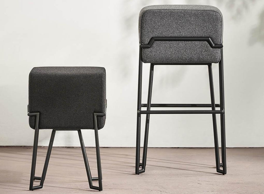 BOKK Robust Brown Leather Stool with Black Geometric Frame by Puik Design