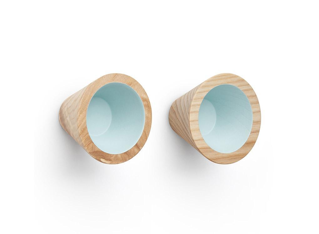2 Mint green wooden Toot coat hooks by Moxon London