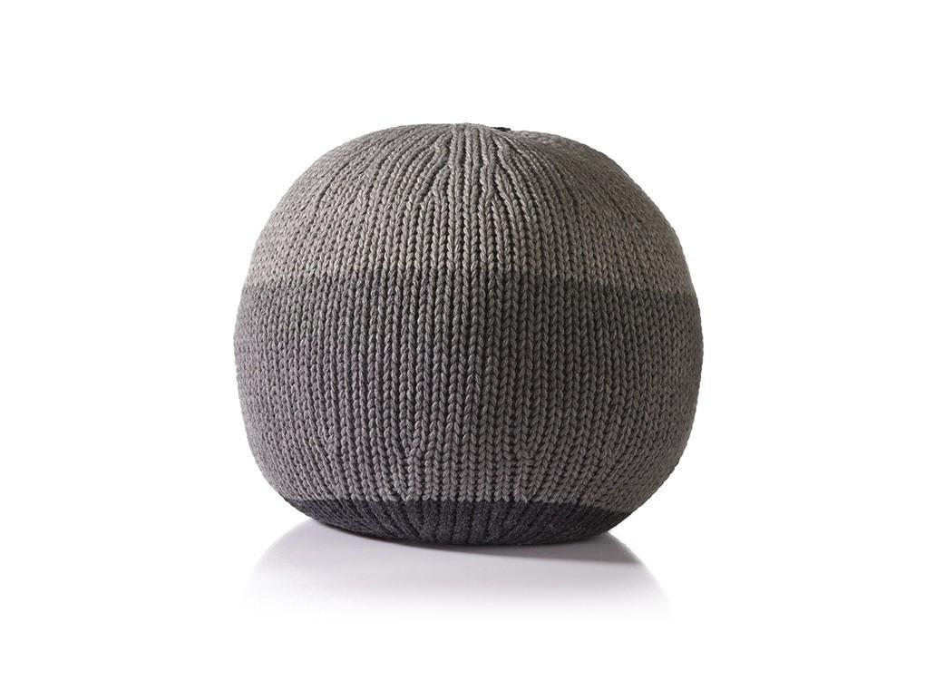Round grey Stine Leth knitted ball cushions for Moxon London