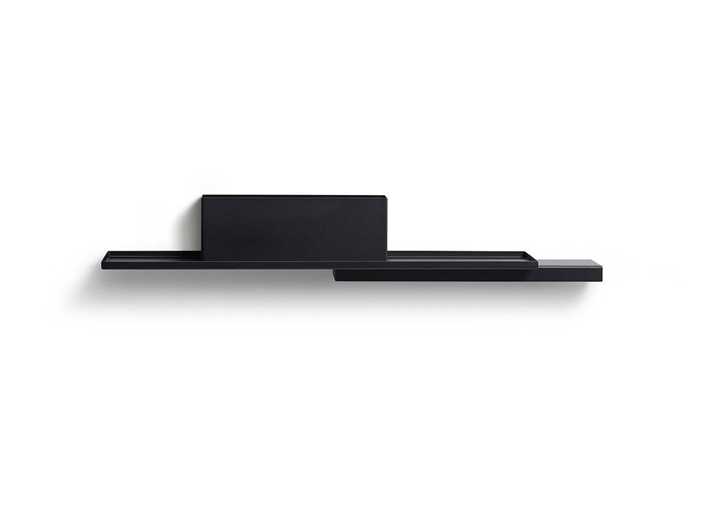 black steel reversible duplex wall display shelf by Puik Art