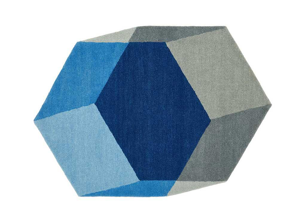 Blue 100% wool Isometric Hexagon Shaped Rug by Antwerpduo