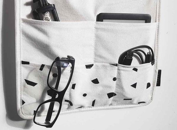 Shapes Hanging Organiser in monochrome memphis print by MOXON London