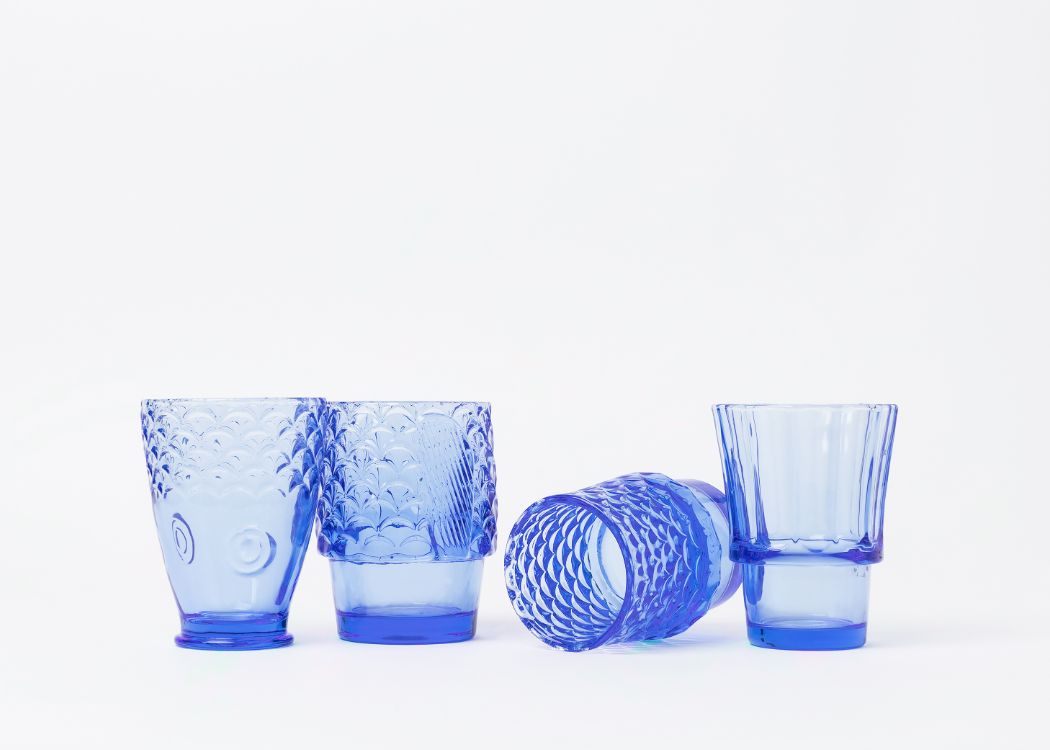Set of 4 Blue Glasses, perfect for wine, cocktails and soft drinks.