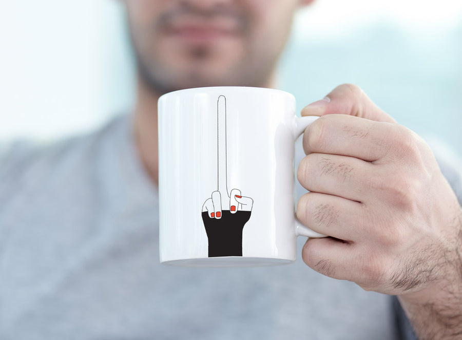 Long middle finger mug by Pikkii