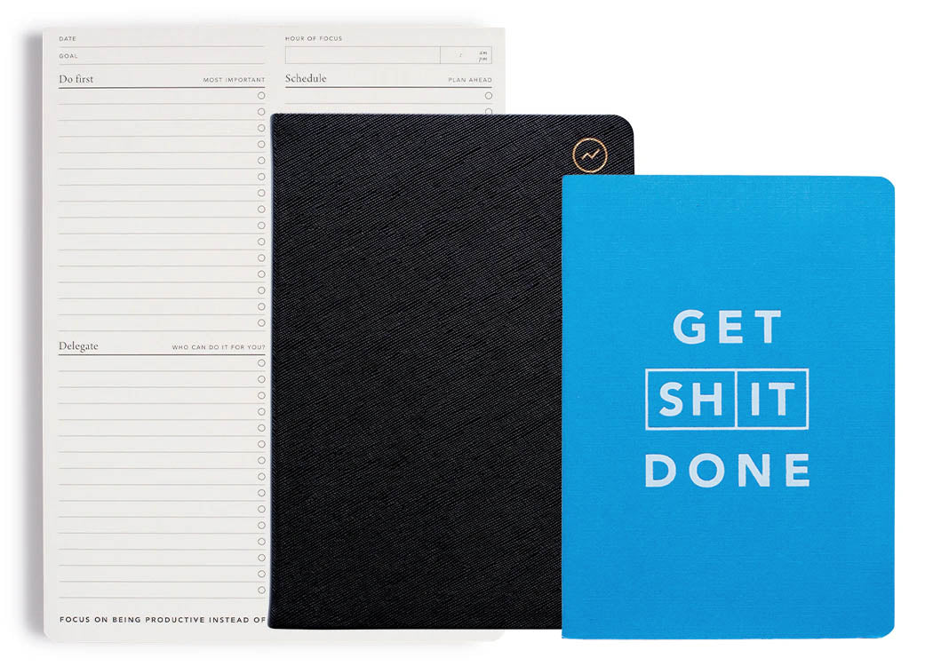 MiGoals Meeting pack contains 1 focus pad, 1 MiNotes notebook and a Get Shit Done pocket notebook