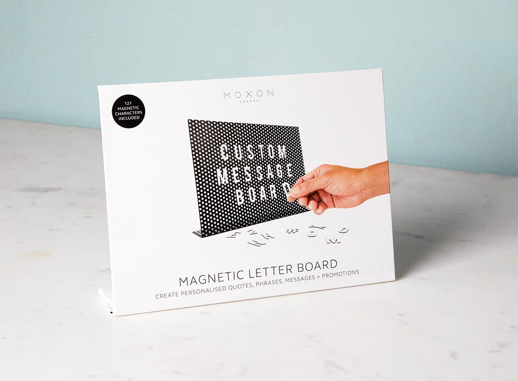 MOXON magnetic letter board in gift packaging
