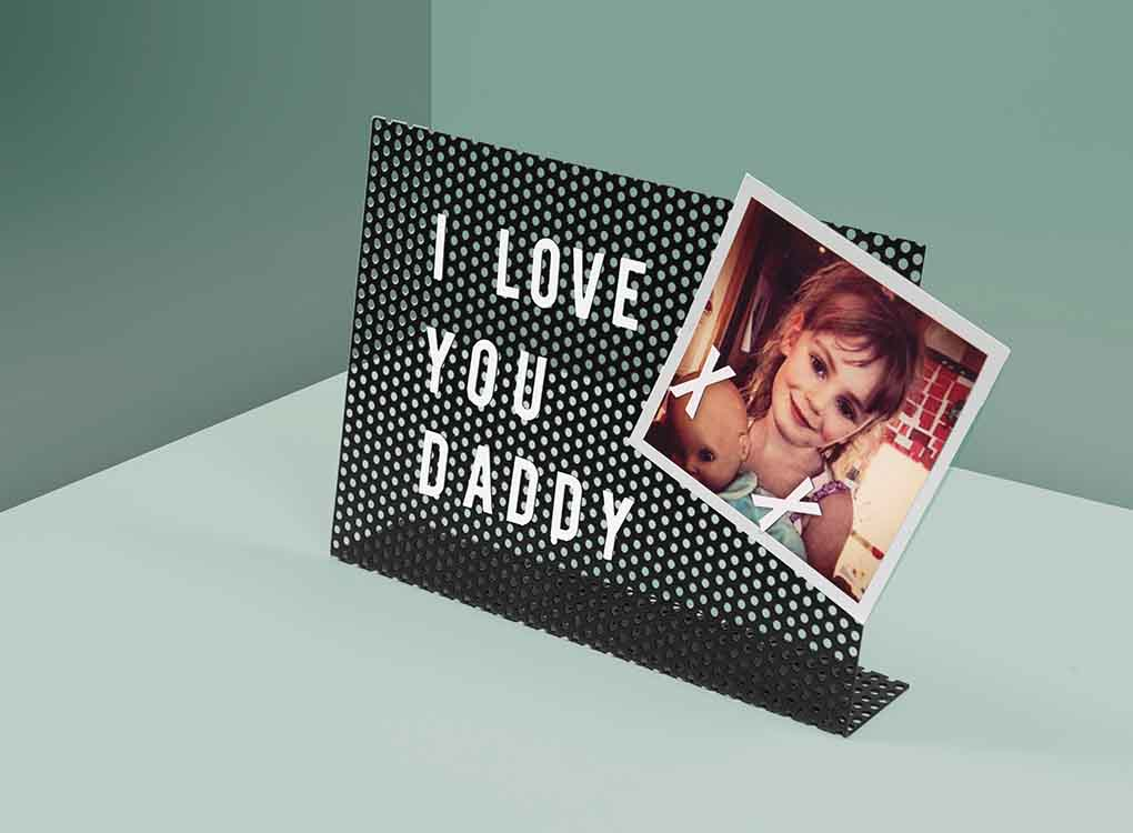 Magnetic Letter Board with the message I Love You Daddy and a photo of a girl