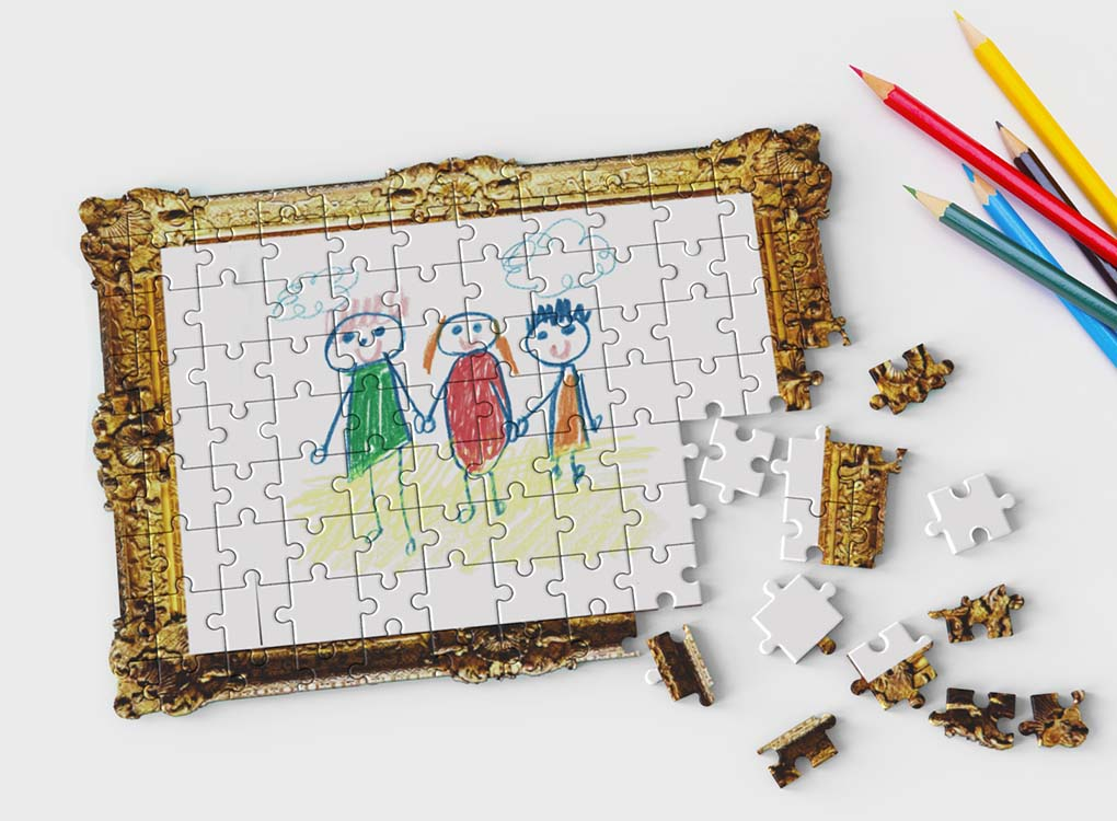 Use your choice of pens or pencils to draw a picture on this blank framed canvas jigsaw puzzle, then break it apart and place it into the included gift box for the most touching gift. Free UK shipping over £30. Worldwide shipping.