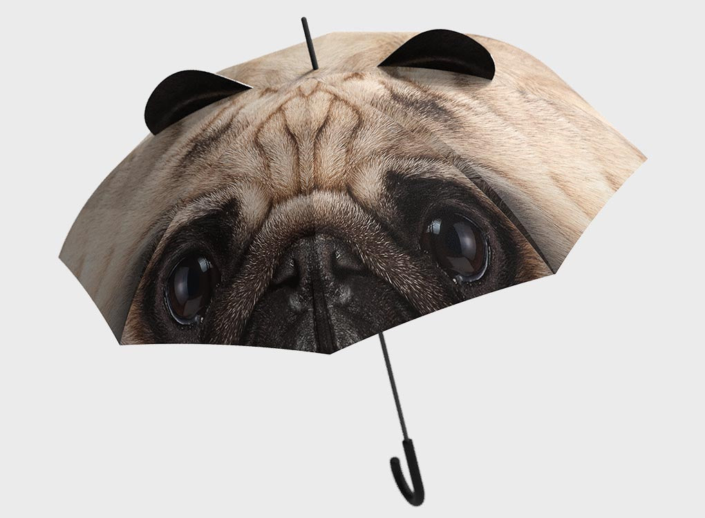 Large Realistic Pug Umbrella with protruding ears by Pikkii