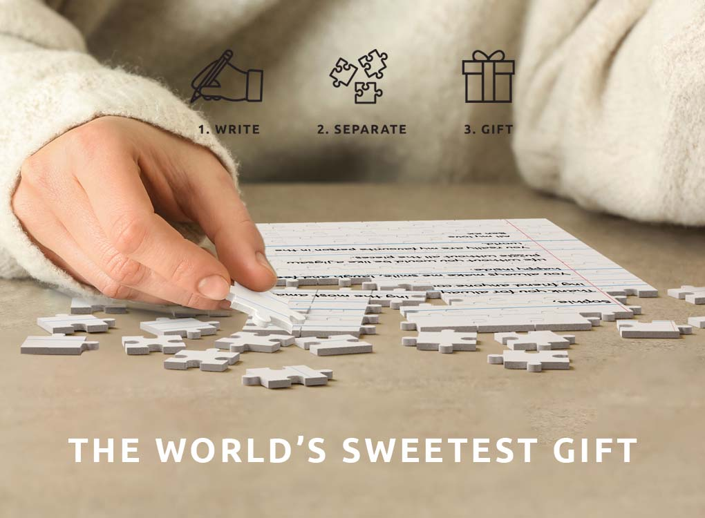 Personalised Letter Jigsaw Puzzle. Create the sweetest gift they will ever receive. Use a pen to write your own message. Free UK shipping over £30.
