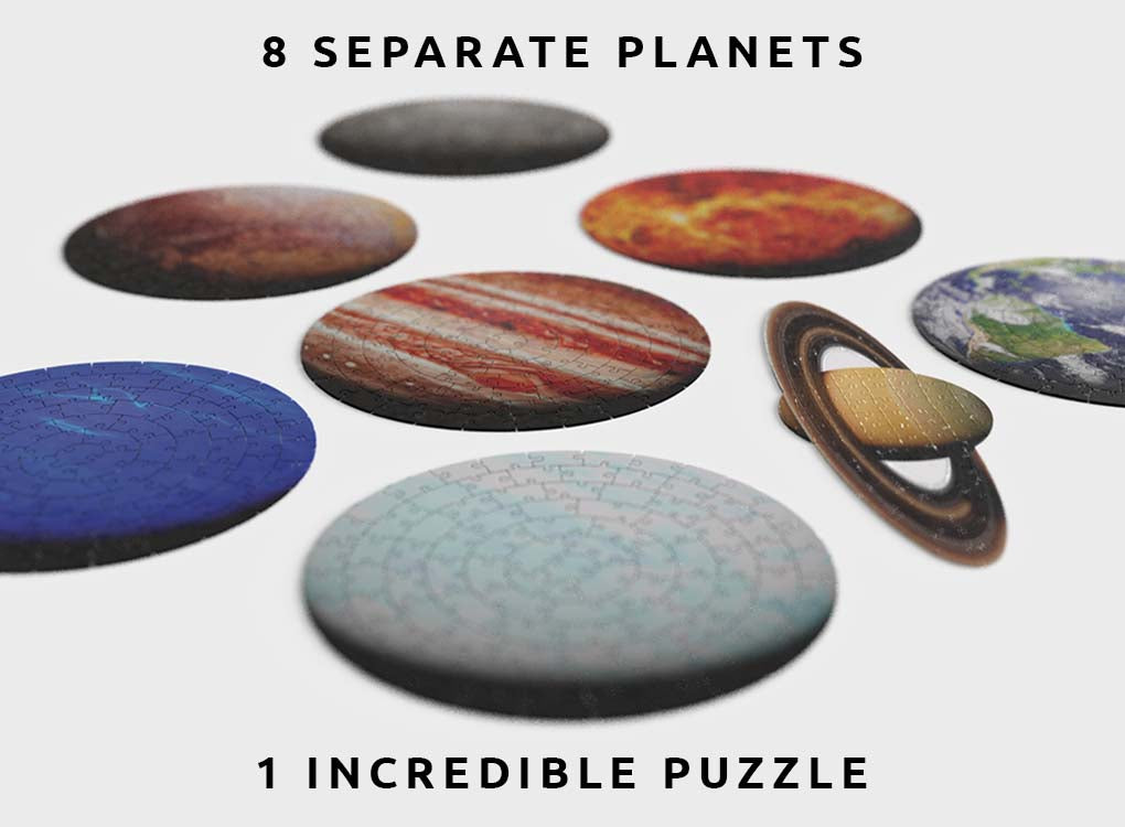 744 piece puzzle contains the 8 planets of our solar system; Earth, Mercury, Venus, Mars, Jupiter, Saturn, Uranus, Neptune. 8 planets, 1 puzzle. Worldwide shipping. Free shipping over £30
