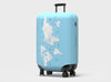 World Map Bucket List Travel log Luggage Cover by Pikkii on a suitcase