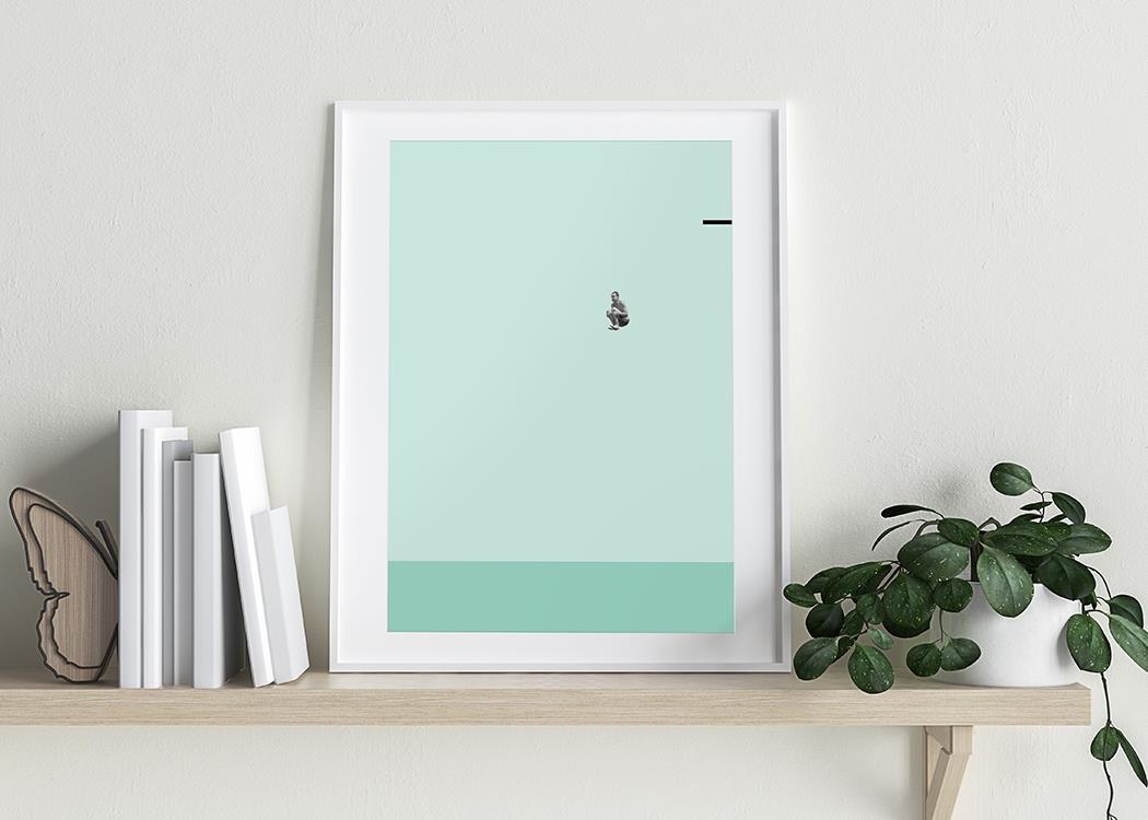 Pool Bomb Art Print On A White Background